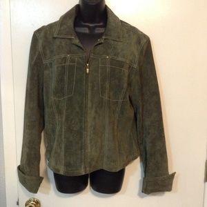 Live a Little 100% leather suede green jacket sz L